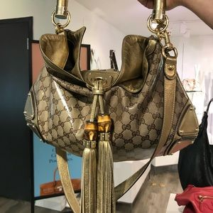 GUCCI Large Gold Crystal Coated Canvas Hobo Bag
